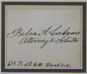 Belva Lockwood Signed Card $900