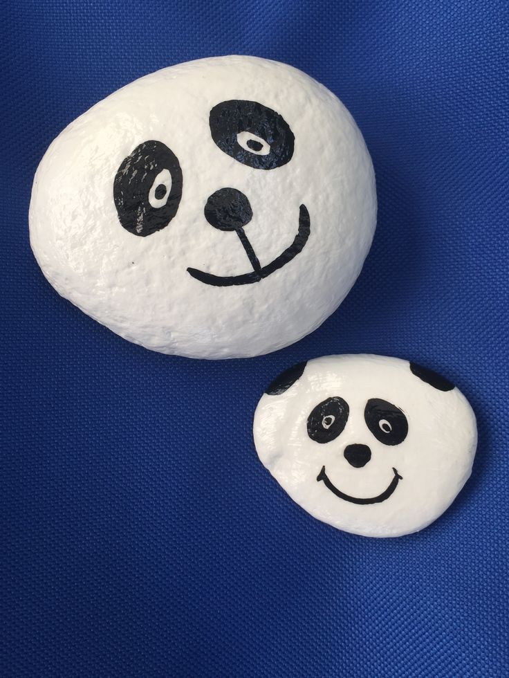 Pandas. Hand painted rock by Caroline. The Kindness Rocks Project