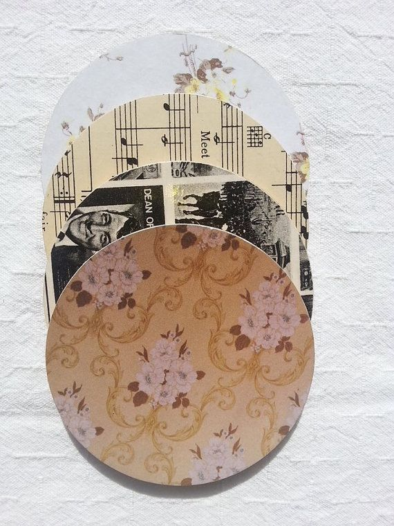 Vintage styled coaster decoupaged set of four  by Pennylanecraft, $12.70