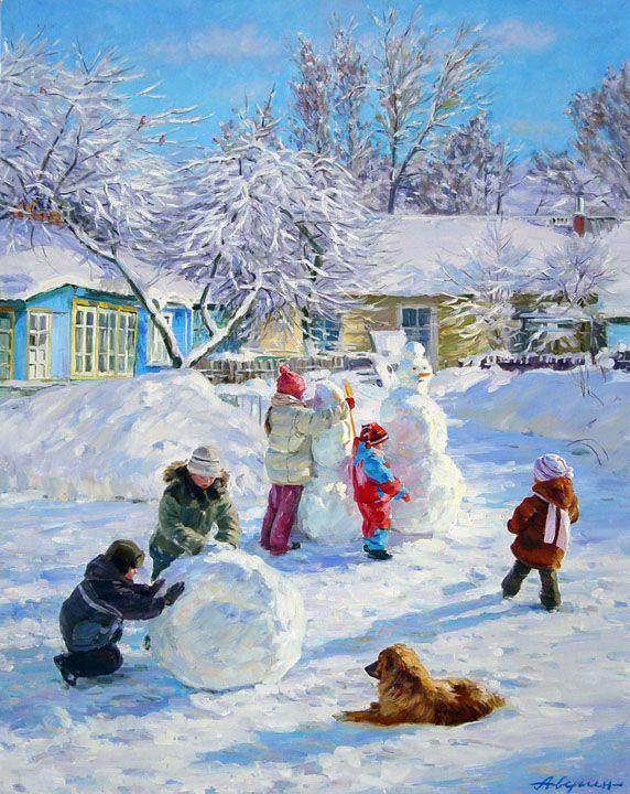 Зимние забавы, Александр Аверин- картина зимний пейзаж, импрессионизм, дети, снеговик