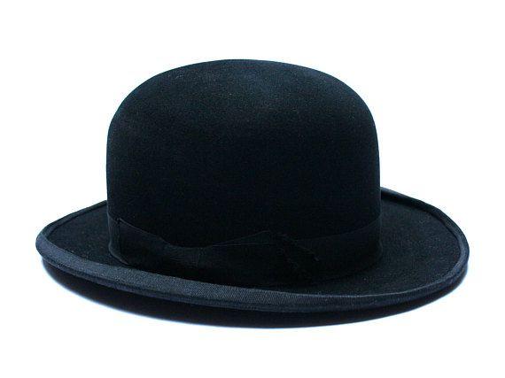 Antique French bowler hat Made in Paris Black felt hat