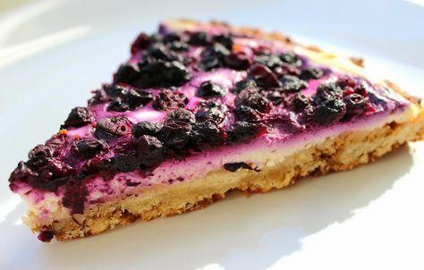 Tvarohový koláč s borůvkami ze špaldové mouky