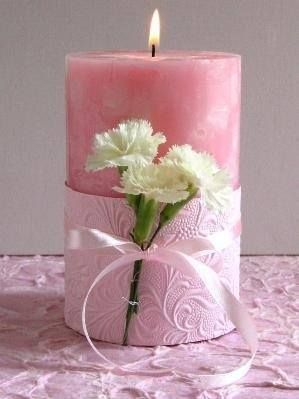Pink Candle with Flowers