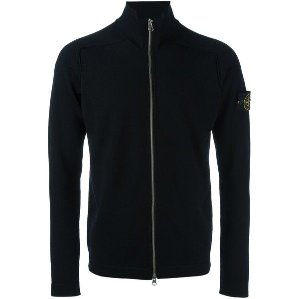 Stone Island high neck zipped cardigan ($303) ❤ liked on Polyvore featuring men's fashion, men's clothing, men's sweaters, black, mens zipper sweater, mens full zip sweater, mens cardigan sweaters, mens full zip wool sweater and mens zip cardigan sweater