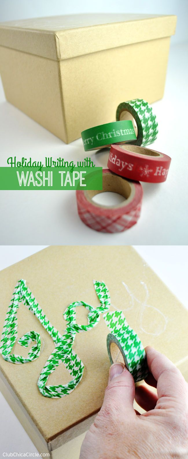 How to decorate a plain holiday package with washi tape