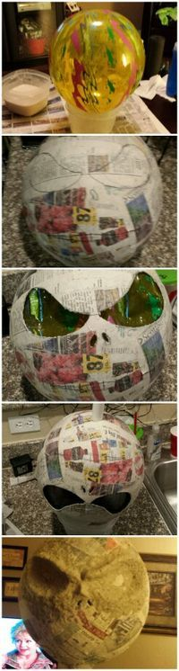 Working on my very own 9' tall Jack Skellington. First project is his head...made with a beachball, paper mache, paper clay and Sculpt It. So far it's kinds rough. Hoping to smooth it out here soon with some sandpaper. First time...so I'm giving it my patience. :) Happy Halloween!!!