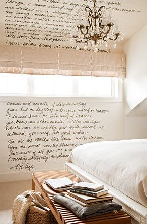 handwriting on the wall--oh, I so want to do this...I need to find the right wall...maybe a wall in my teeny office!
