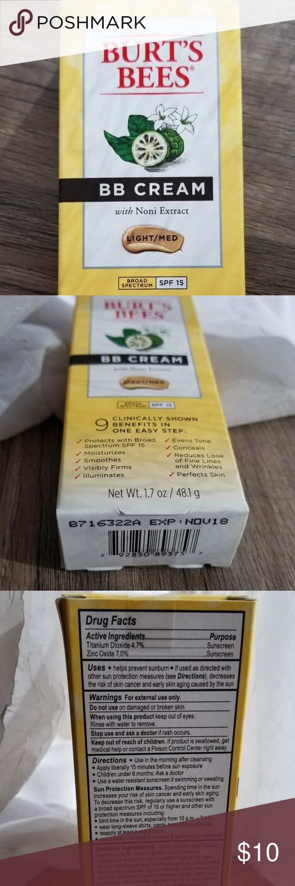 NEW Burt's Bees BB Cream in shade Light/Medium New in box, never used.  Items include: -One full-size Burt's Bees BB Cream with noni extract in shade Light/Medium, 1.7 oz, new in box, expiration date November 2018 From pet and smoke-free home. If you have any questions let me know! Thank you for looking :) Burt's Bees Makeup Foundation