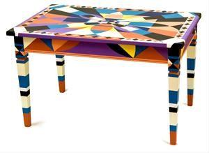 """Tavolino decoro """"geometrico"""" AS Ambienti da AS Ambienti - ARTE  ARREDAMENTO DI LUSSO MOBILI DIPINTI LACCATI DECORATI A MANO ITALIANI - ITALIAN LUXURY FURNITURE DESIGN"""