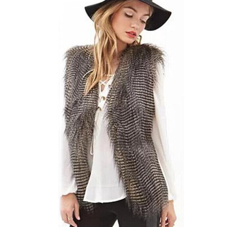 Sleeveless Vest Coat - Faux Fur Long HairJacket                      – Laura Johnson Beauty