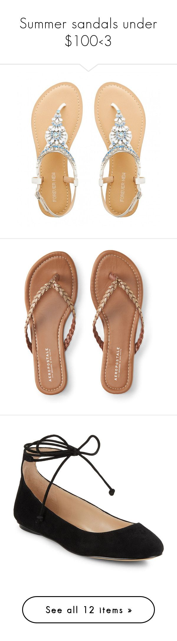"""""""Summer sandals under $100<3"""" by prplbtrfly ❤ liked on Polyvore featuring shoes, sandals, white shoes, jewel shoes, jeweled shoes, white sandals, jeweled sandals, flip flops, gold and woven shoes"""