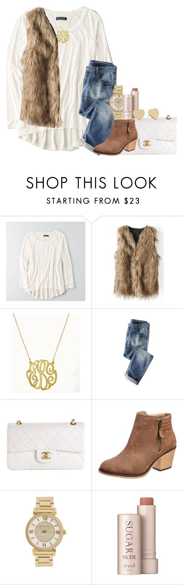 """""""why so serious"""" by econgdon ❤ liked on Polyvore featuring мода, American Eagle Outfitters, Wrap, Chanel, Michael Kors, Fresh и Kate Spade"""