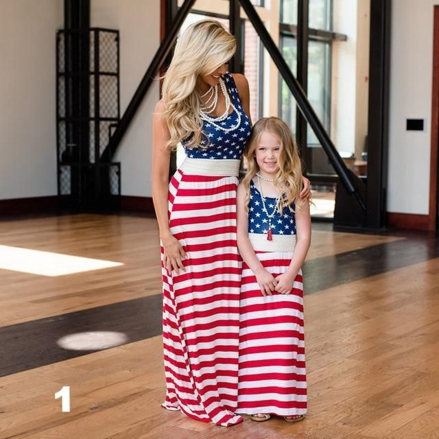 Mother Daughter American Flag Long Dress 4th of July Sundress Beachwear Holiday