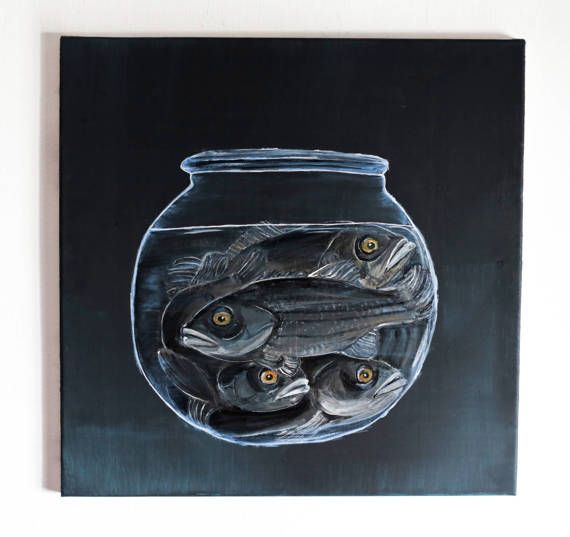 pesce pittura su tela, arte della parete, bassi pesci in ciotola, ciotola dei pesci pittura acrilica, pesce bass scuro attivismo animale arte animalista pittura di pesce by SiminaArt #italiasmartteam #etsy