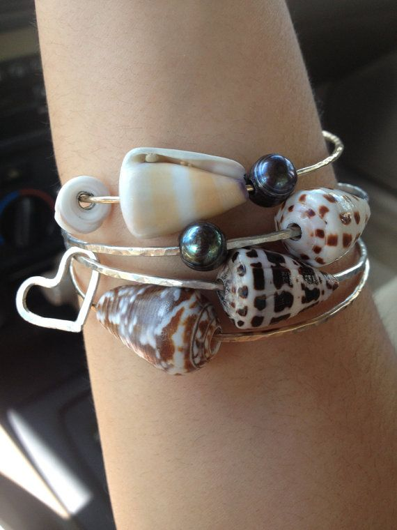 Add A Heart Pearl Or Puka Shell By Joyama On Etsy 5 00 Fantasy Closet Silver Bangle Bracelets Seashell Jewelry