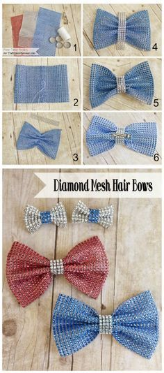 4th of July Diamond Mesh Hair Bows will make your outfit shine! Just gather up the required items and in no time you can make bows for your child's hair. So cute, don't you think?