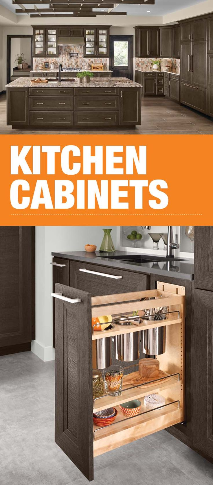 Create your ultimate kitchen by adding beauty, storage and functionality with custom cabinets. Base Utensil Pull-Out creates space for easy to find utensils in a limited space.