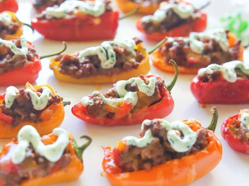 Mini Taco Stuffed Peppers, fun for game day! I'm going to add hot sauce to mine though!