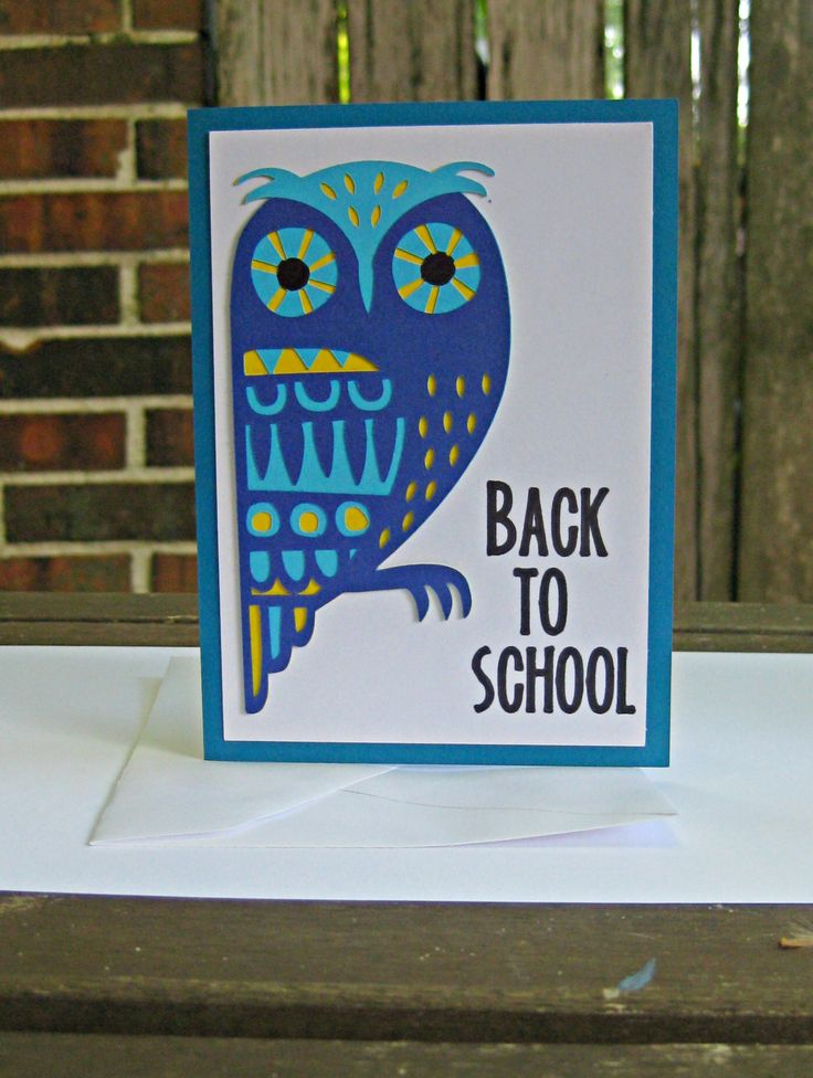 Back to School Greeting Card ~ First Day of School Notecard ~ Wise Owl Modern Design Greeting Card ~ Gift for Student ~ Gift for Teacher by SpareRoomStationery on Etsy