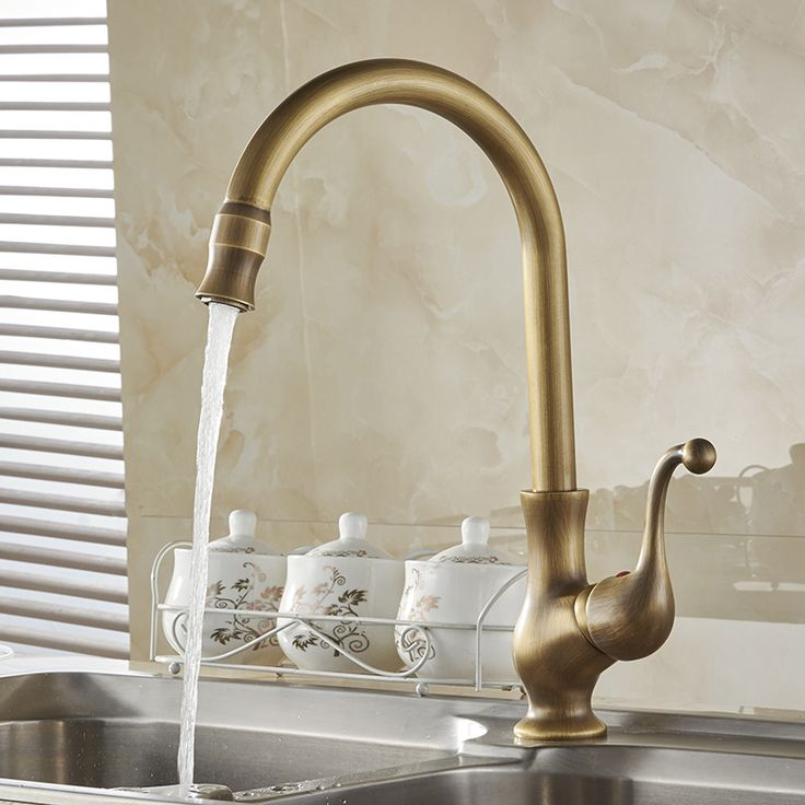 Kitchen Faucets Antique Color Cozinha Faucet Br Swivel Spout Single Handle Vessel Sink Mixer Tap Hj 6715f