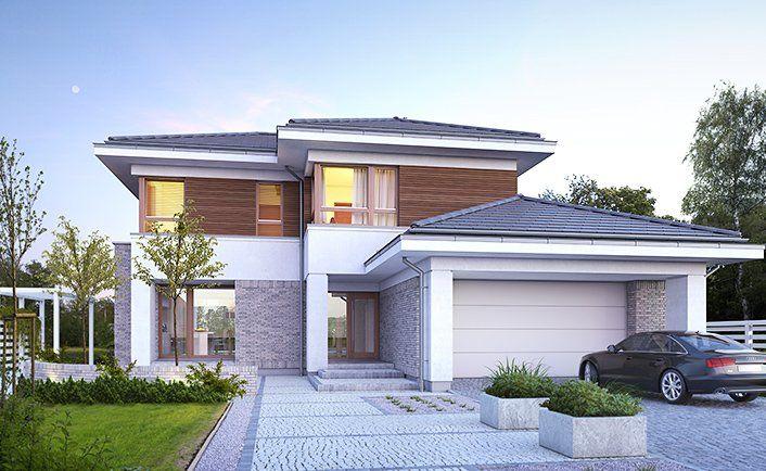 Wyjątkowy 3 - wizualizacja 1 - Projekt nowoczesnego piętrowego domu z dwustanowiskowym garażem