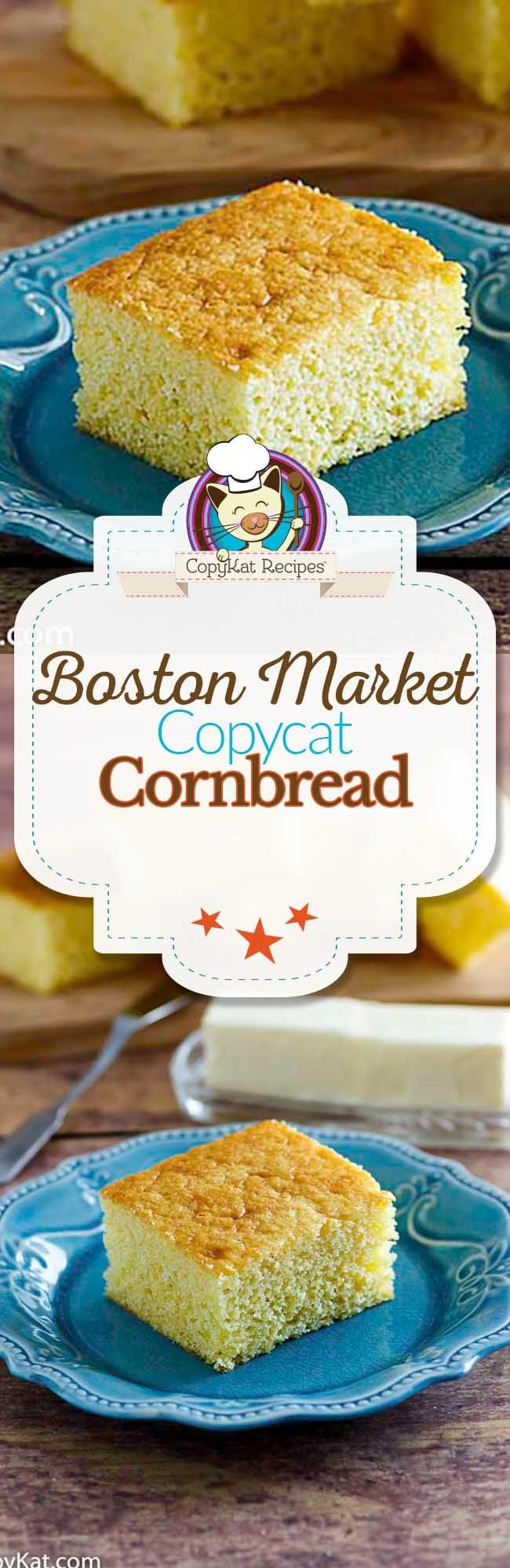 You can recreate the Boston Market Cornbread at home with this copycat recipe.