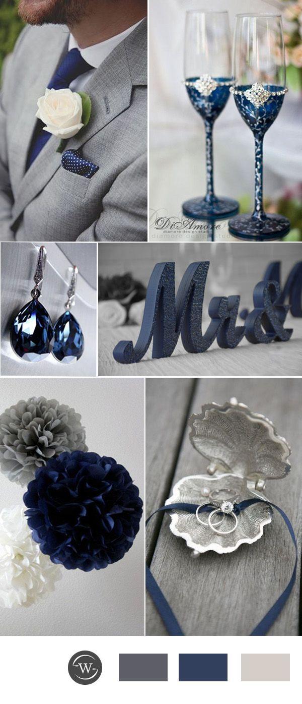 navy blue and grey wedding color ideas for 2017 #WeddingIdeasColors
