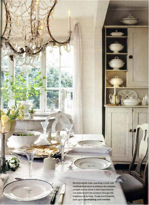 Beautiful space including a wonderful old white cabinet filled with aged ironstone...