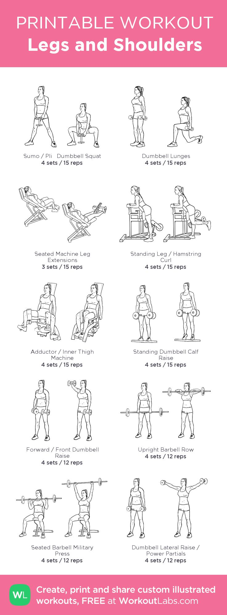 Legs and Shoulders:my visual workout created at WorkoutLabs.com • Click through to customize and download as a FREE PDF! #customworkout