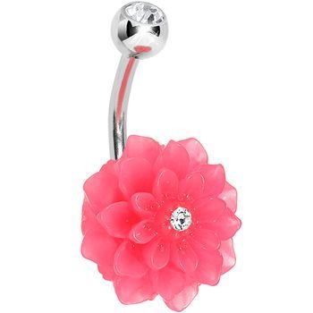 Crystalline Gem Pink Neon Carnation Belly Ring $6.99