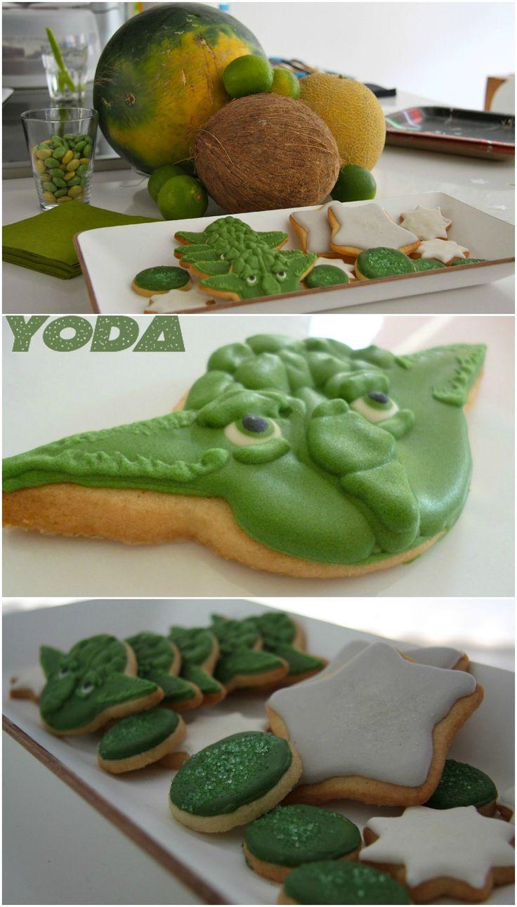Star Wars Kids themed birthday party Yoda cookies  Kindergeburtstag mit Yoda Keksen by kleinstyle