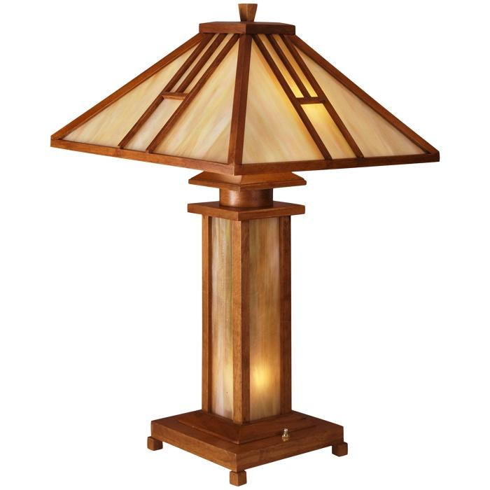 Wood Table Lamp In Oak.