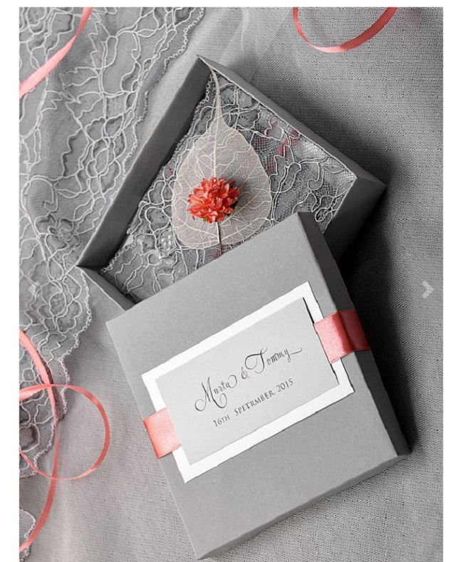 Custom listing Box and Lace Wedding Invitation