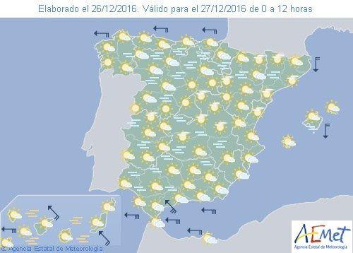 El tiempo del martes: Nieblas en el interior con alguna lluvia en el mediterráneo sur y Baleares. Viento en el estrecho.