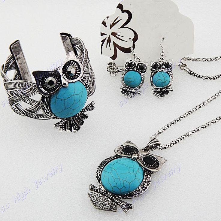 Antique Silver Plated Turquoise Rhinestones Owl Necklace & Earrings & Bracelet
