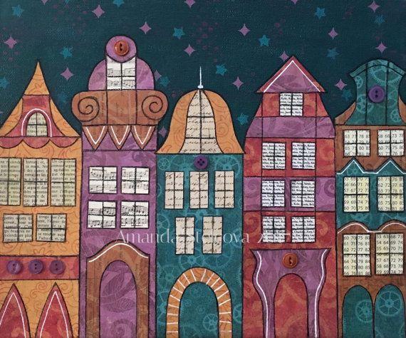 MIXED MEDIA COLLAGE 'Magic Village'  by MrsButtonsEmporium on Etsy