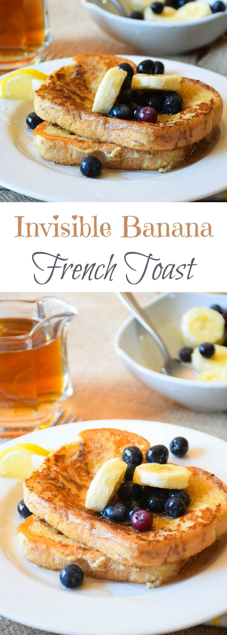 What is Invisible Banana French Toast? It is a french toast batter made with bananas in the blender and it gives an amazing banana flavor to your kids morning meal! They will love the fun you can have in making this recipe as well as the name!