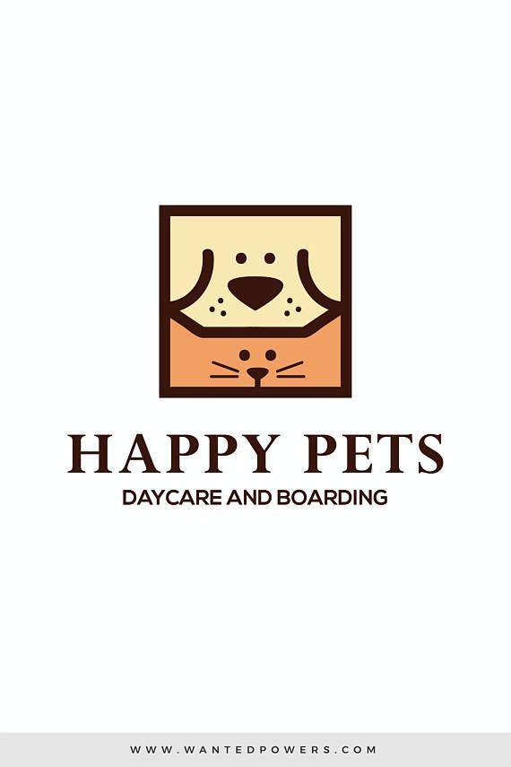 Dog Cat Happy Pets Logo Custom Pre Made Logo Design Pet Logo