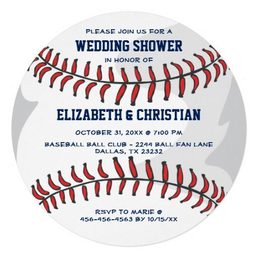 Baseball Ball Player Fan Wedding Shower Blue RND This unique couples wedding shower Invitation features a baseball background. Great for a baseball fan, coach or player - batter, pitcher, base man or catcher.