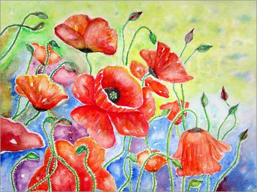 1000+ Bilder zu Poppies poppy flowers Mohnblumen paint