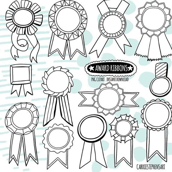 Doodle Award Ribbon Black White Lineart Digital Graphic Line