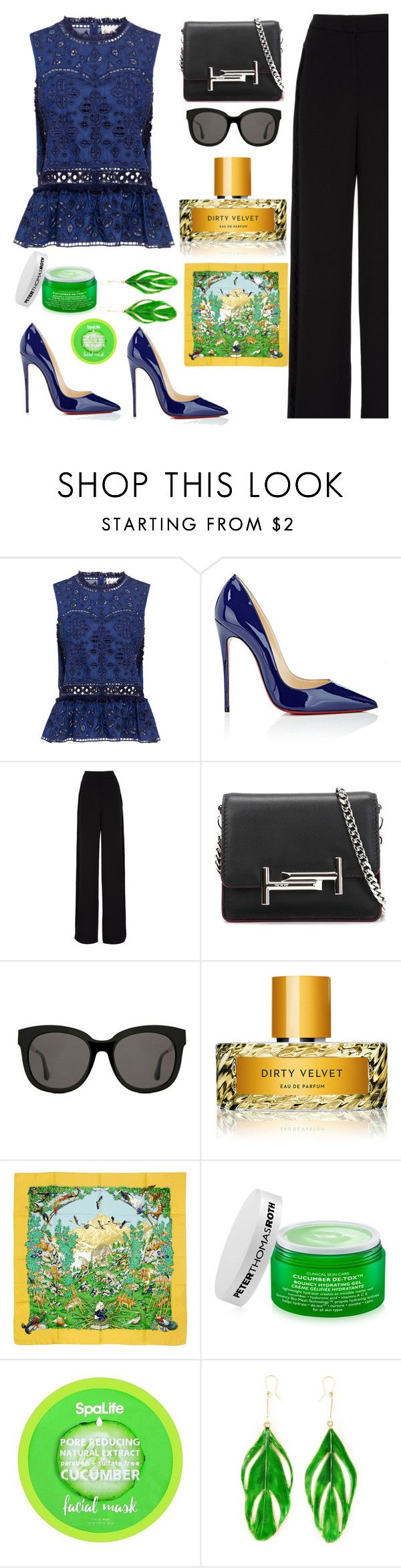 """Dirty Velvet"" by felicitysparks ❤ liked on Polyvore featuring Sea, New York, Christian Louboutin, Rochas, Tod's, Gentle Monster, Vilhelm Parfumerie, Hermès, Peter Thomas Roth and Aurélie Bidermann"
