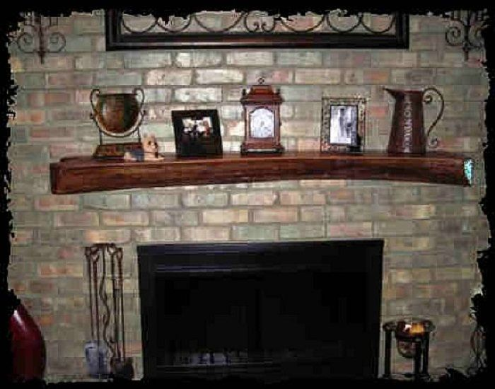Rustic fireplace mantel decor with shelves unique style for Unique mantel decor