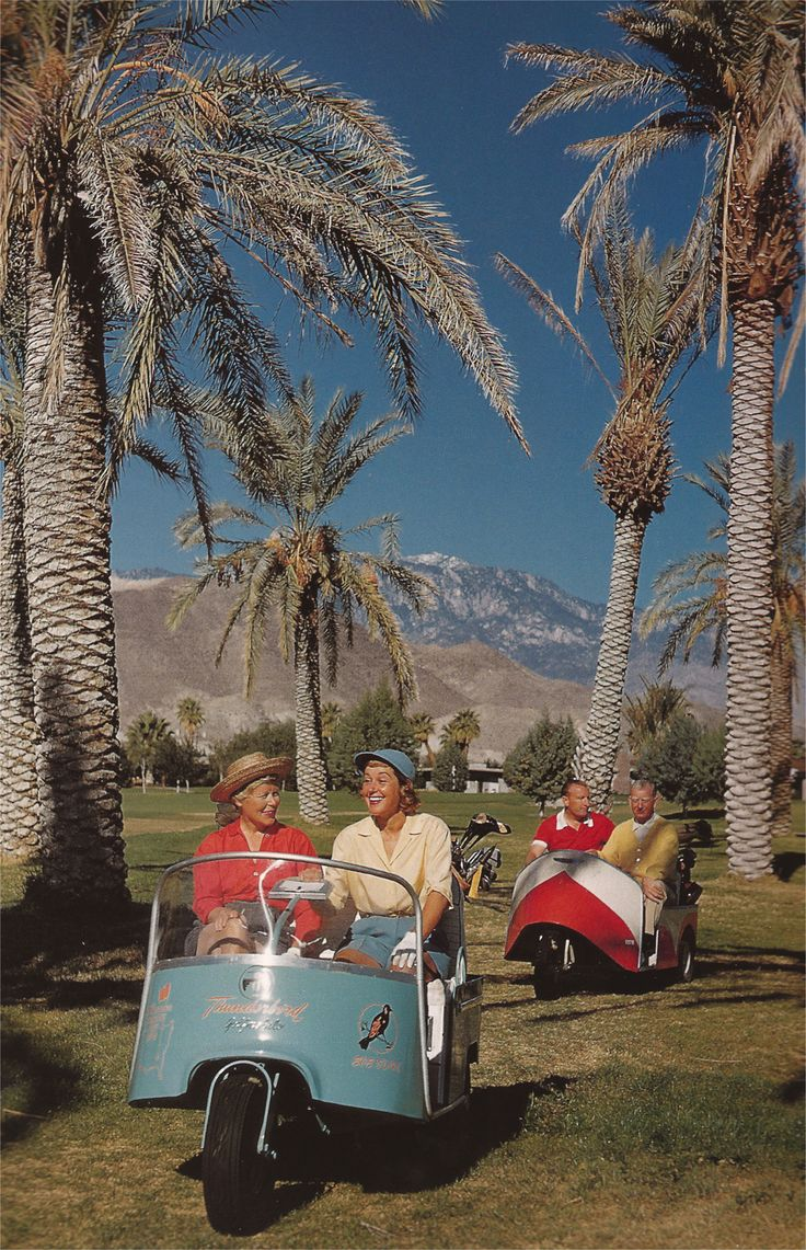 On the golf course in 1964...looks like it could be in Palm Springs and check out those golf carts!