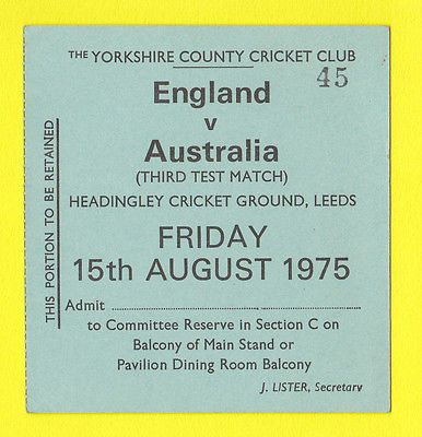 Rare cricket #ticket - #england v australia - headingley  - 15th  #august  1975,  View more on the LINK: 	http://www.zeppy.io/product/gb/2/252135009047/