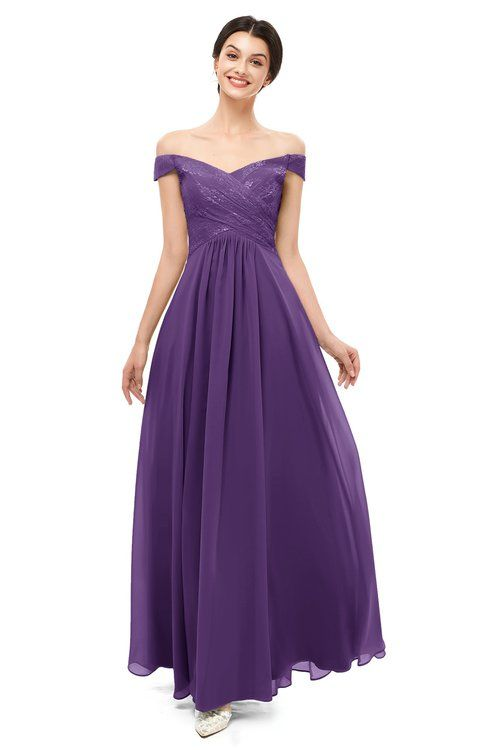 91c50d0a2e4f ColsBM Lilith Dark Purple Bridesmaid Dresses Off The Shoulder Pleated Short  Sleeve Romantic Zip up A-line