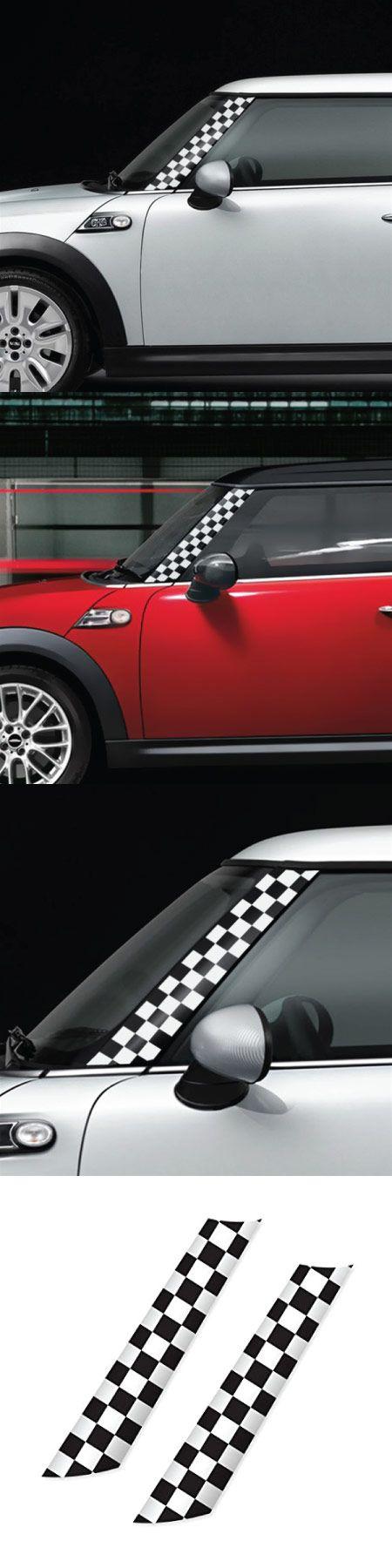 Mini cooper r55 r56 r57 gographic a pillar white checker everyone loves car decalsmini cooperscooper countrymancool