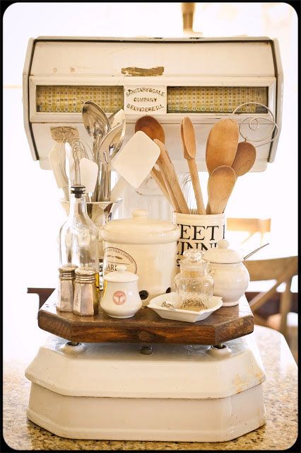 Vintage Scale in the Kitchen.  Love.   Via: Little Cottage on the Pond, blog