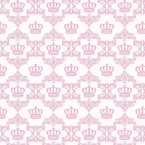 Papel de Parede Arabesco com Coroas em Tons de Rosa Bebe
