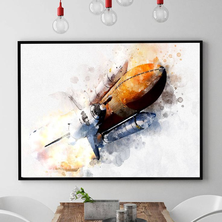 NASA Print, Space Shuttle Poster, Nasa Wall Art Decor, Watercolour Space Art, Nursery Wall Art, Kids Room Decor Giclee (N309) by PointDot on Etsy